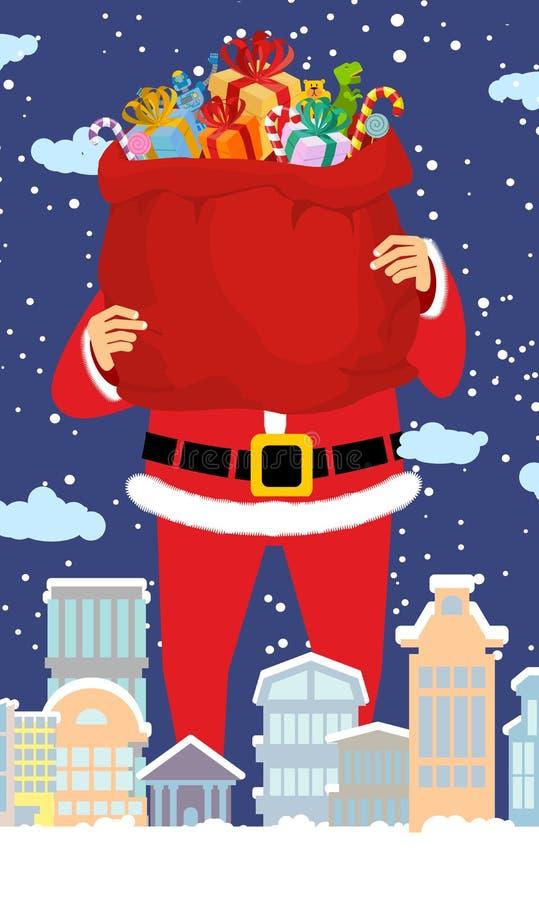 Santa Claus en zak van giften in stad Kerstmis in stad royalty-vrije illustratie