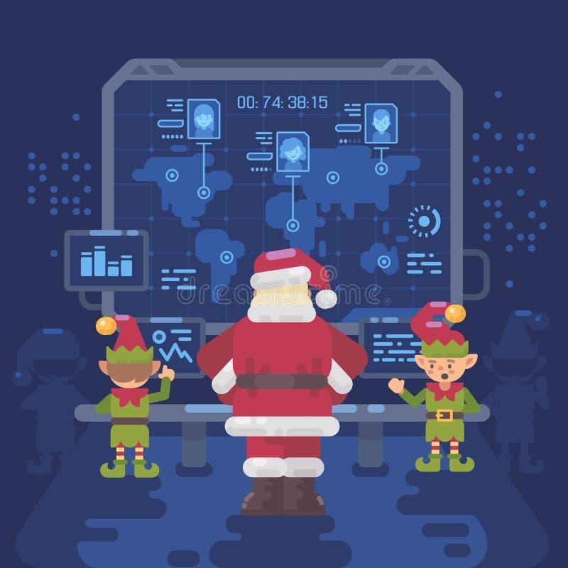 Santa Claus en zijn elf bij Kerstman` s controlekamer royalty-vrije illustratie