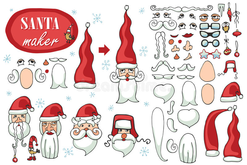 Santa Claus enfrenta o fabricante Grupo de imagem do construtor ilustração royalty free