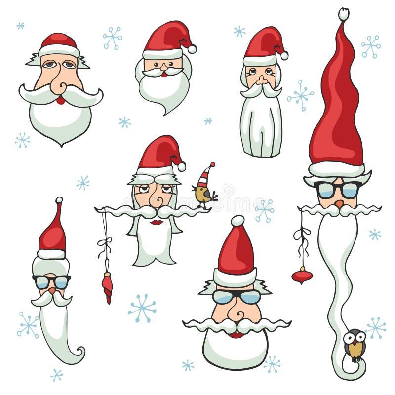 Santa Claus enfrenta o grupo Etiquetas, ícones ilustração royalty free