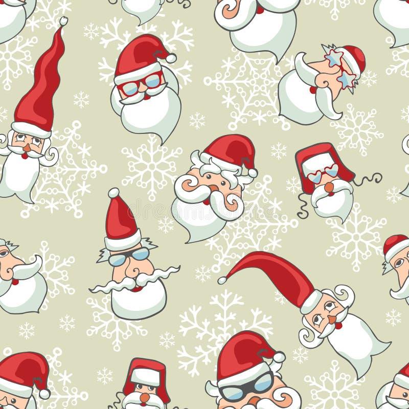 Santa Claus enfrenta, teste padrão sem emenda dos flocos de neve ilustração stock