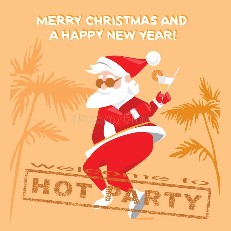 Santa Claus engraçada que dança a torção em um partido quente ilustração do vetor