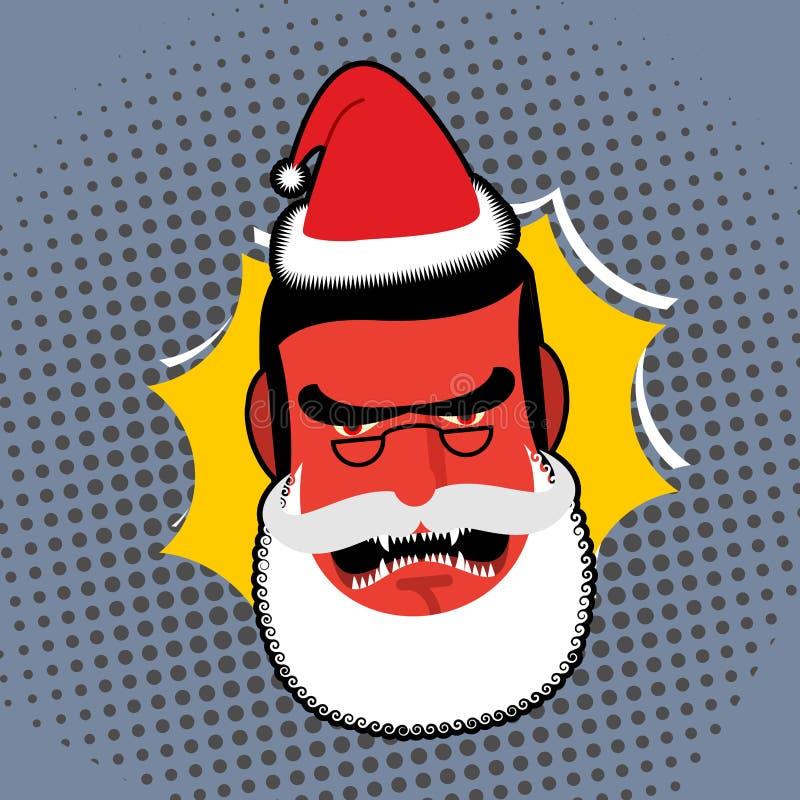 Santa Claus enojada malvada El rojo con la persona de la cólera jura y grita stock de ilustración