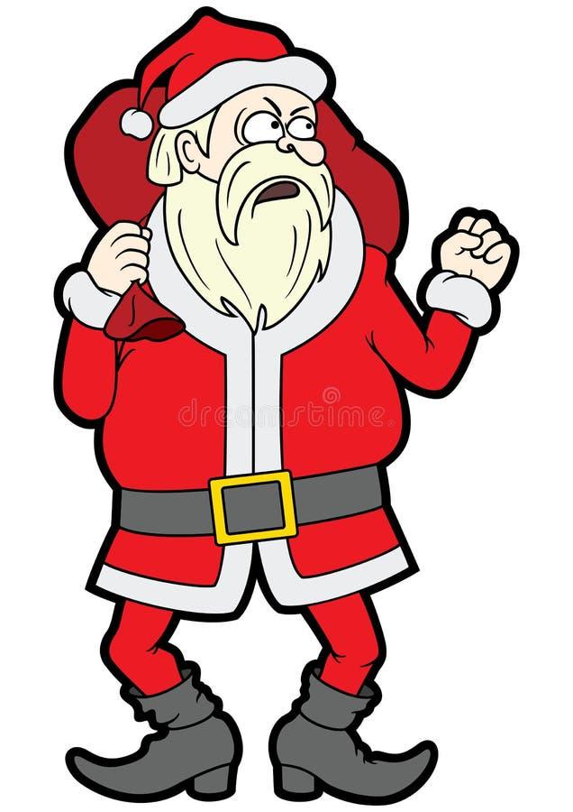 Santa Claus enojada que sacude su puño stock de ilustración