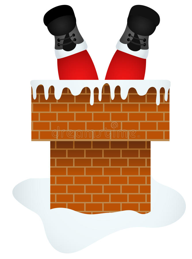 Santa Claus entering through the Chimney royalty free illustration