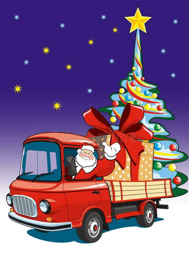 Santa Claus entrega los regalos en un camión rojo libre illustration