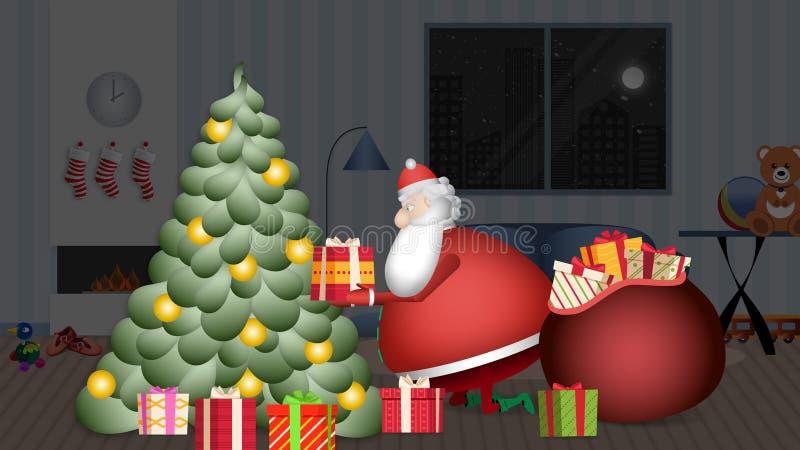 Santa Claus, entrou na casa para pôr sob sua árvore de Natal seus presentes ilustração do vetor