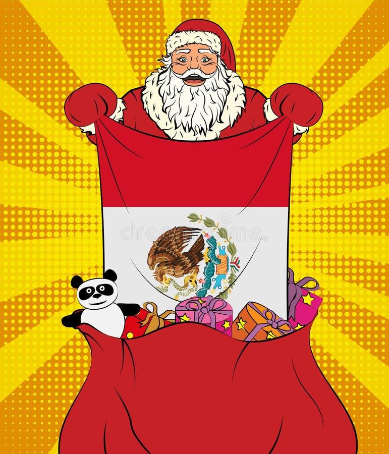 Santa Claus erhält Staatsflagge von Mexiko aus der Tasche mit Spielwaren in der Pop-Arten-Art heraus Illustration des neuen Jahre lizenzfreie abbildung