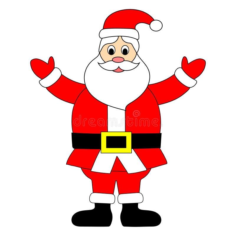 Santa Claus es soporte aislado en el fondo blanco Personaje de dibujos animados lindo para el día de fiesta de la Navidad Ilustra ilustración del vector