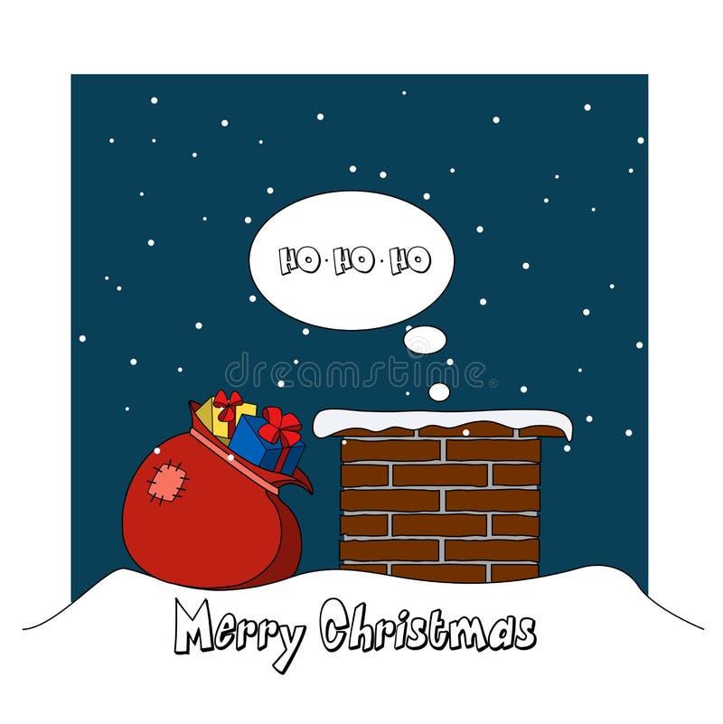 Santa Claus escala no tubo com presentes ilustração stock