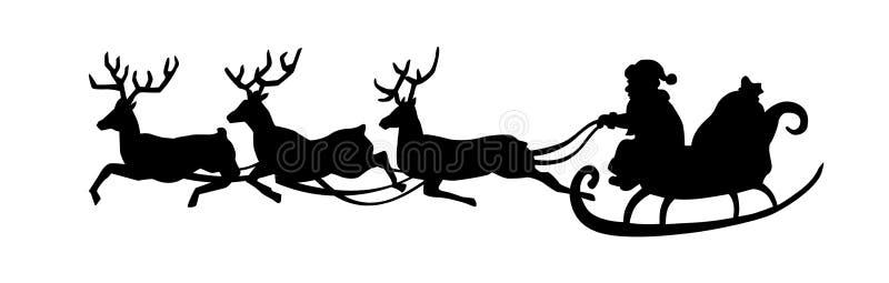 Santa Claus está montando em um trenó com um carro dos cervos Silhueta preta de Santa isolada no fundo branco Ilustração do vetor ilustração stock