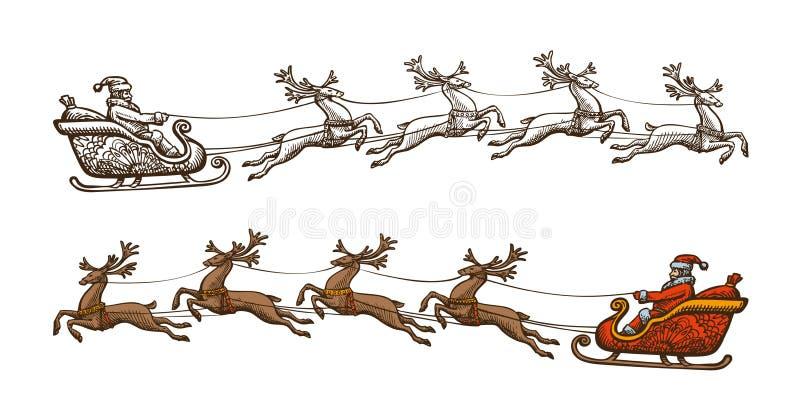 Santa Claus está montando em um trenó Natal, conceito da celebração Ilustração do vetor do vintage do esboço ilustração royalty free