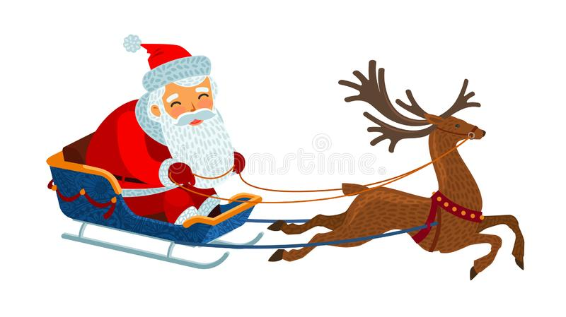 Santa Claus está montando en un trineo Concepto de la Navidad Ilustración del vector de la historieta libre illustration