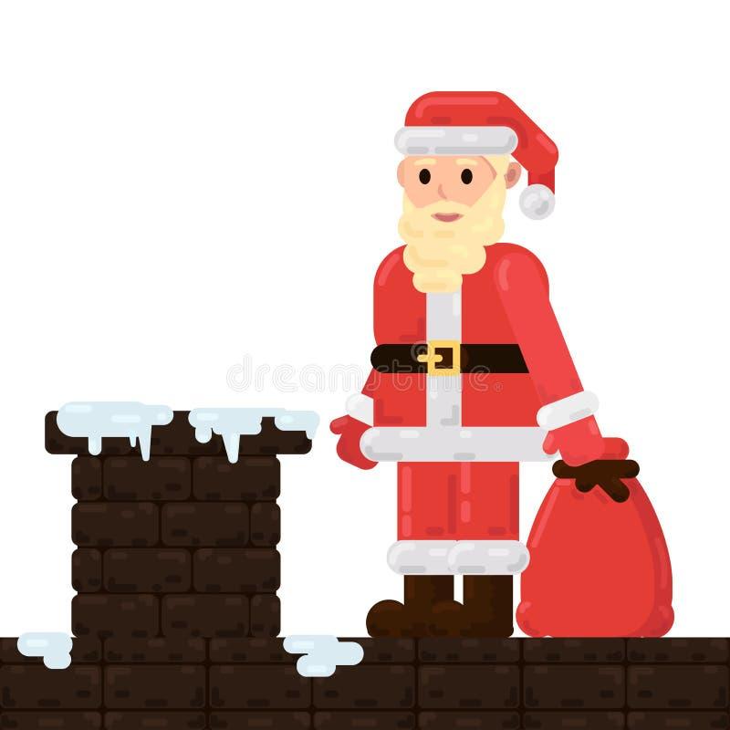 Santa Claus está no telhado ilustração stock
