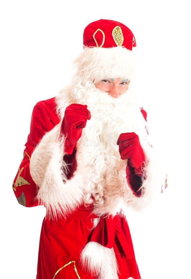 Santa Claus está preparando-se para a luta fotografia de stock royalty free