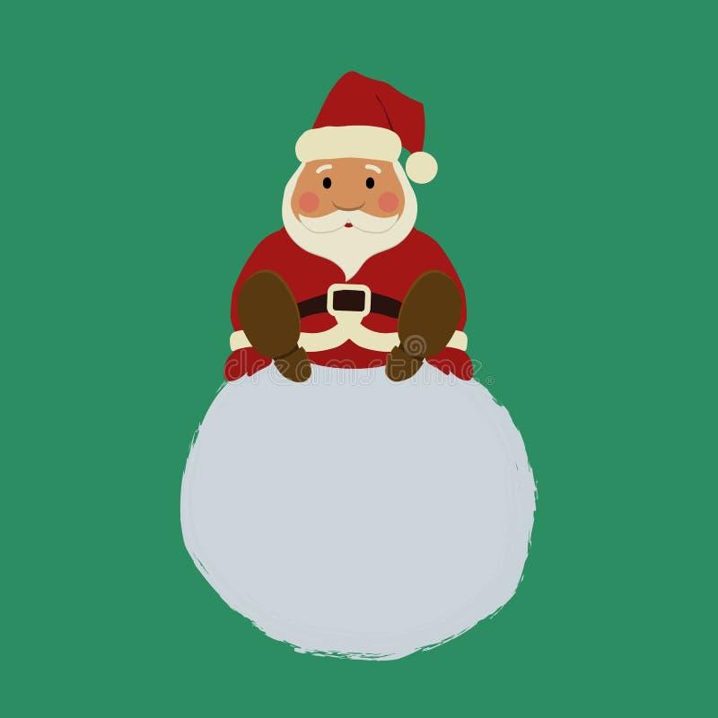 Santa Claus está sentando-se em uma bola de neve ilustração royalty free