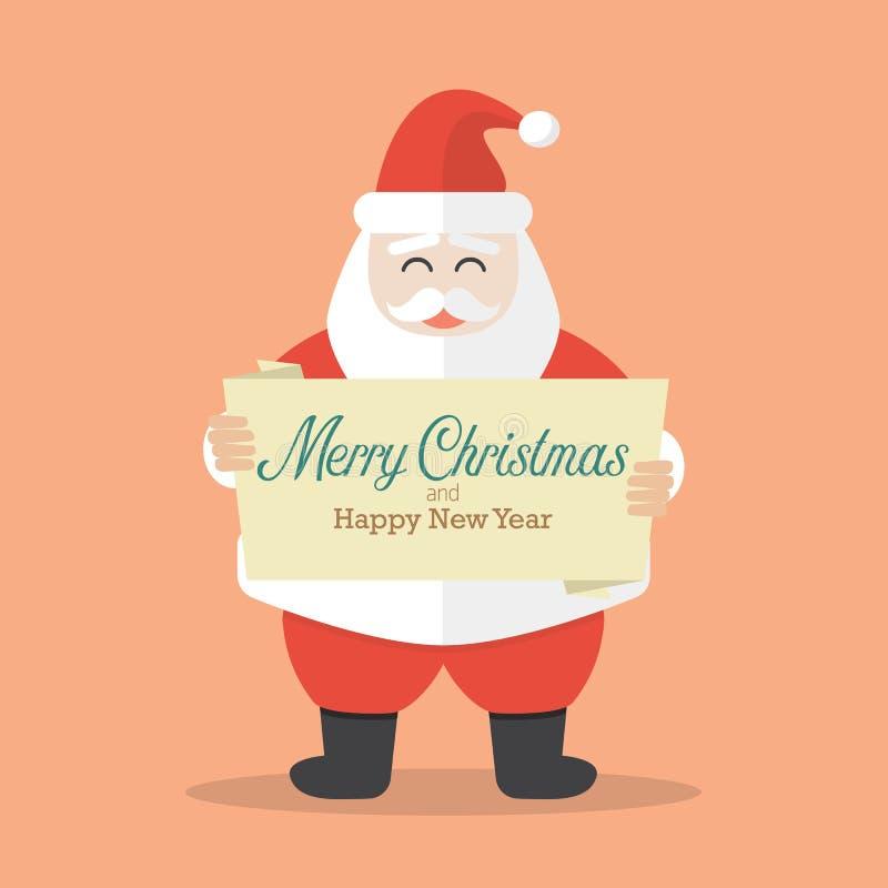 Santa Claus está sosteniendo la bandera de la Feliz Navidad y de la Feliz Año Nuevo libre illustration