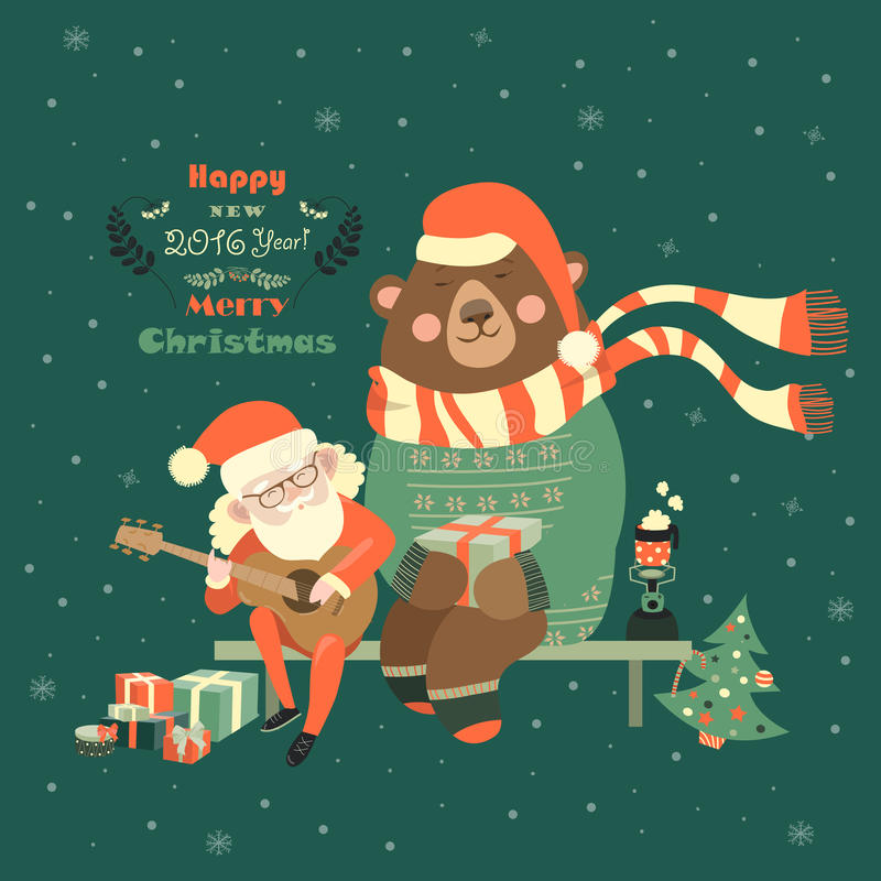 Santa Claus está tocando la guitarra para el oso ilustración del vector