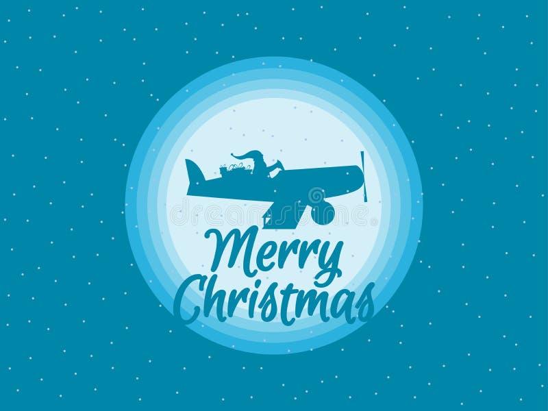 Santa Claus está volando en un aeroplano con los regalos Vector ilustración del vector