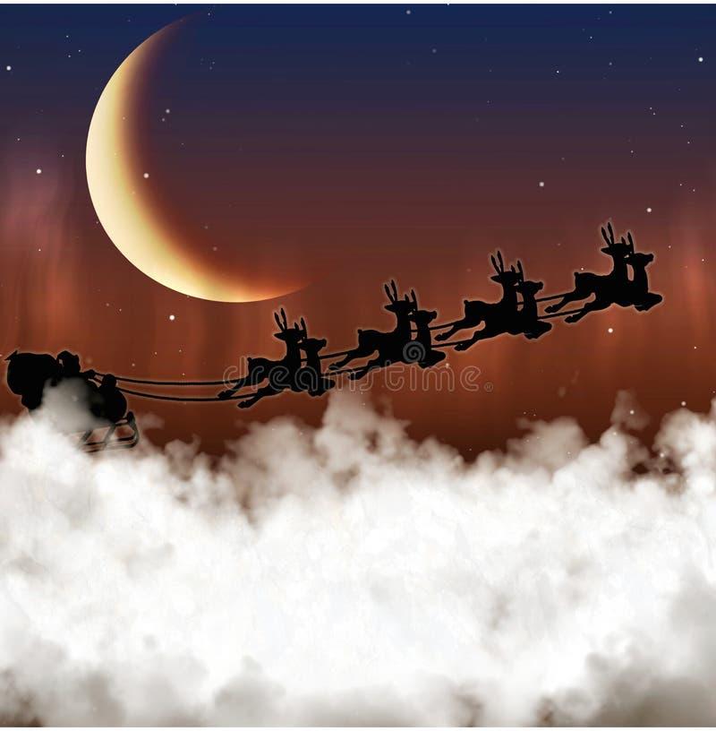 Santa Claus está volando en un fondo de la luna fotografía de archivo