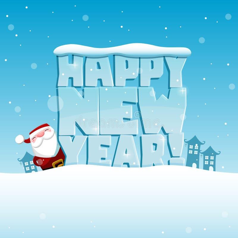 Santa Claus et bonne année glaciale de mots ! illustration de vecteur
