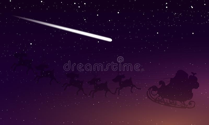 Santa Claus et comète dans le ciel étoilé de nuit illustration de vecteur