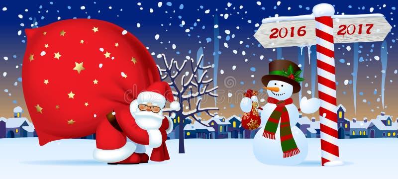 Santa Claus et le bonhomme de neige avec une nouvelle année signent illustration libre de droits