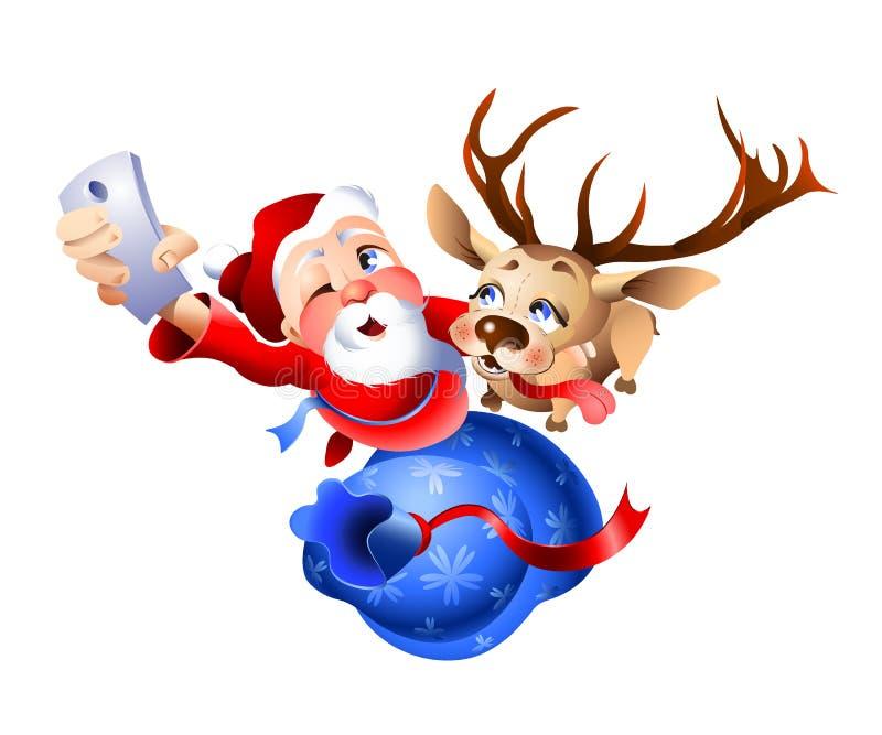 Santa Claus et le renne étant prêt pour Noël illustration stock