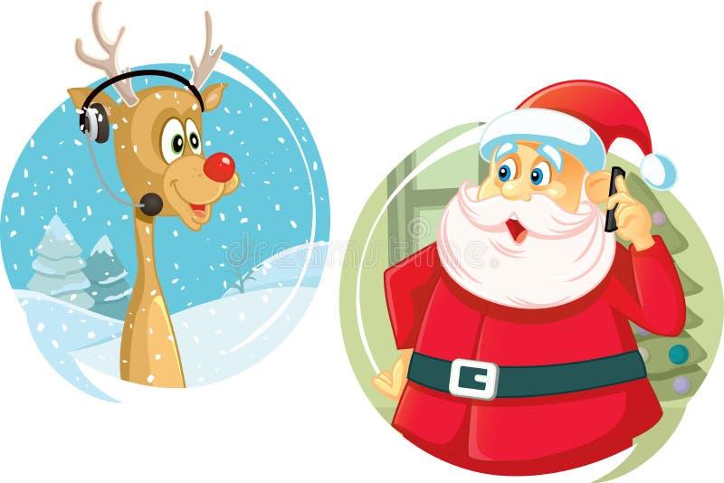 Santa Claus et le renne parlant sur le vecteur de téléphone illustration stock