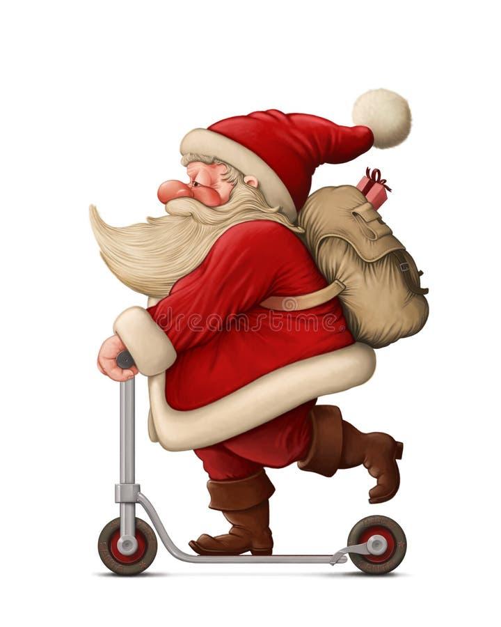 Santa Claus et le scooter de poussée illustration de vecteur