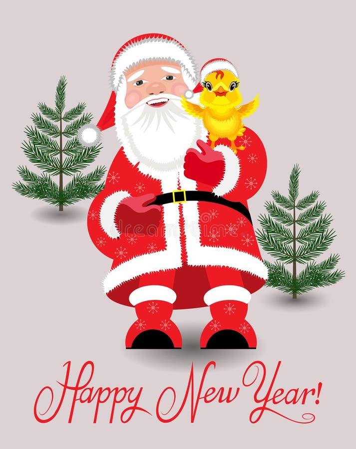 Santa Claus et poulet illustration stock