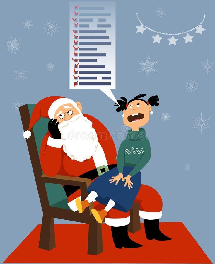 Santa Claus et un enfant avide illustration libre de droits