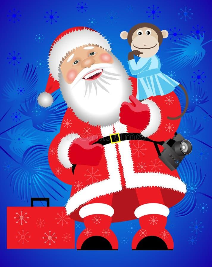 Santa Claus et un singe illustration stock