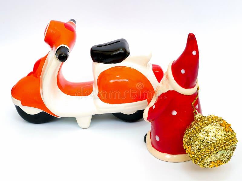 Santa Claus et une moto images stock
