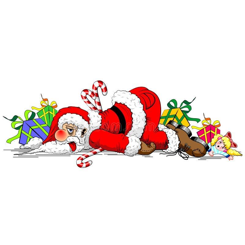 Santa Claus Exhausted Funny Character royaltyfri illustrationer