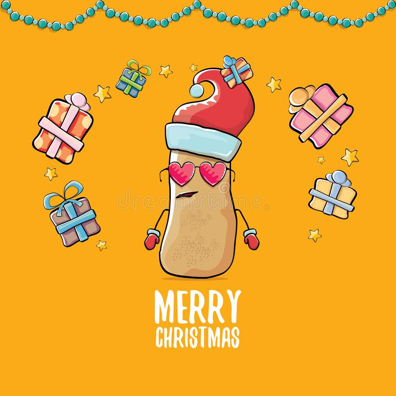 Santa Claus för skraj komisk tecknad film för vektor gullig brun le potatis med den röda santa hatten, gåvor och calligraphic gla vektor illustrationer