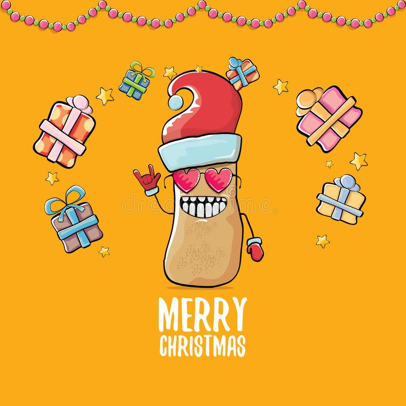 Santa Claus för skraj komisk tecknad film för vektor gullig brun le potatis med den röda santa hatten, gåvor och calligraphic gla stock illustrationer