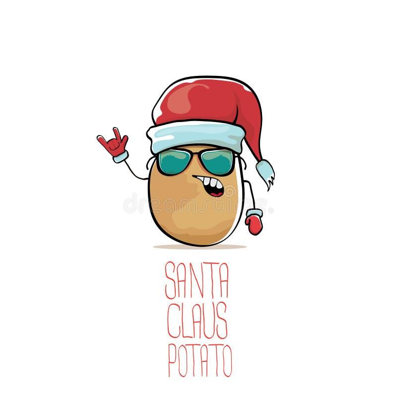 Santa Claus för skraj komisk tecknad film för vektor gullig brun le potatis med den röda santa hatten som isoleras på vit bakgrun stock illustrationer