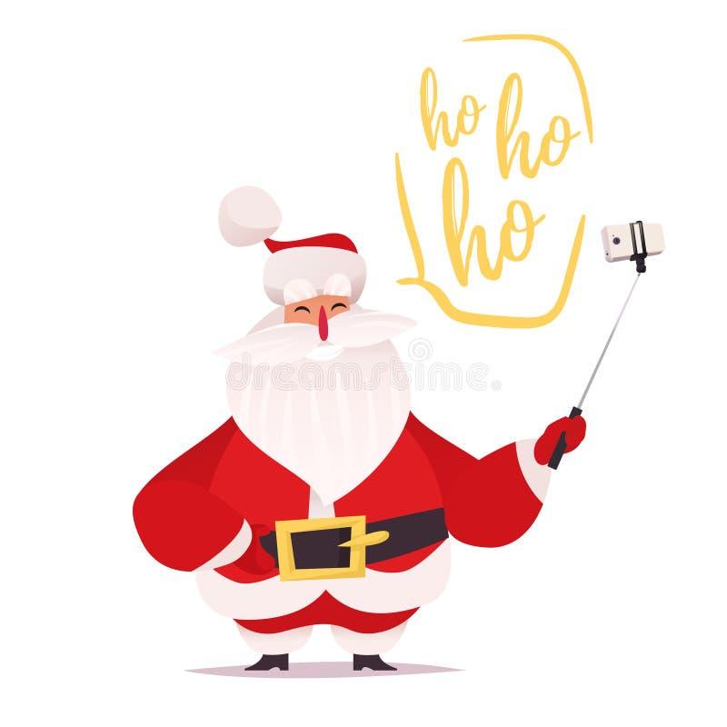 Santa Claus faisant le selfie et rire illustration de vecteur