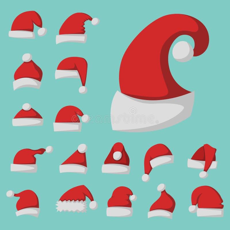 Santa claus fashion red hat modern elegance cap winter xmas holiday top clothes vector illustration. stock illustration