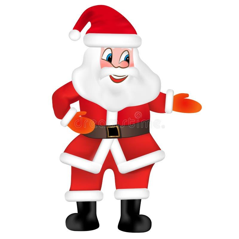 Santa Claus felice isolata su fondo bianco Vettore illustrazione vettoriale