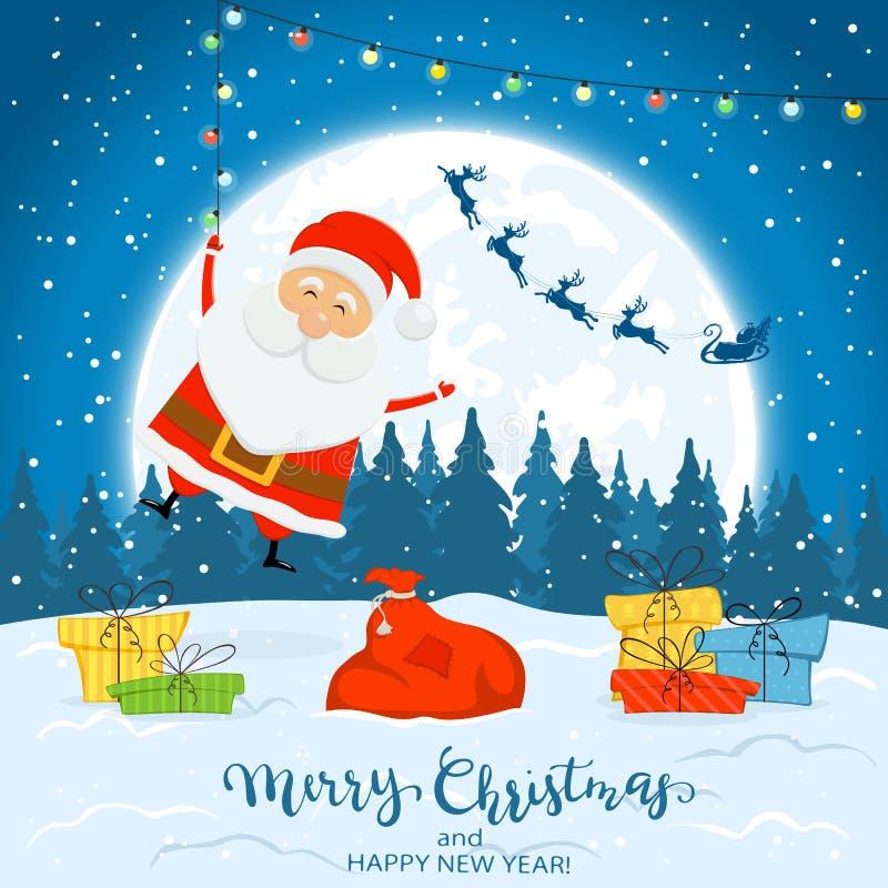 Santa Claus feliz com luzes e os presentes coloridos de Natal Feliz Natal do texto e ano novo feliz no fundo do inverno com ilustração do vetor