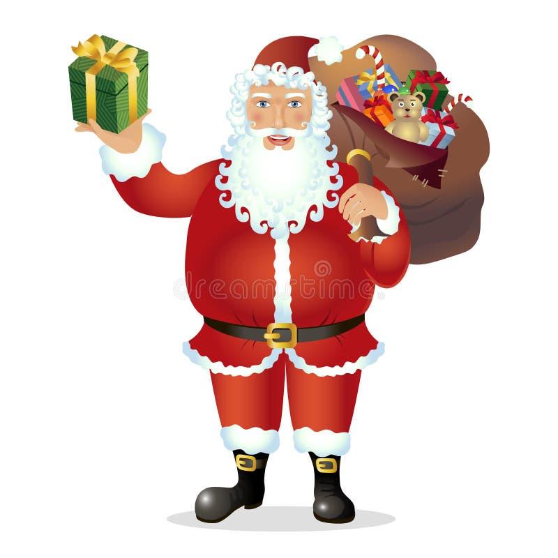 Santa Claus feliz con el bolso y el regalo en el vector de las manos - Illustrati libre illustration
