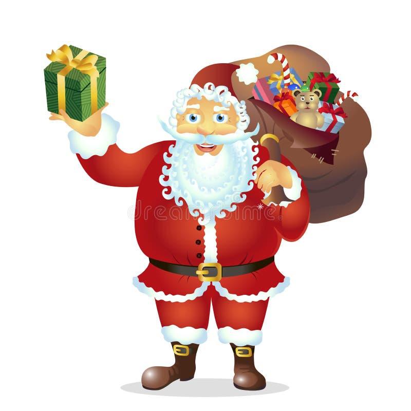 Santa Claus feliz con el bolso y el regalo en el vector de las manos - Illustrati ilustración del vector