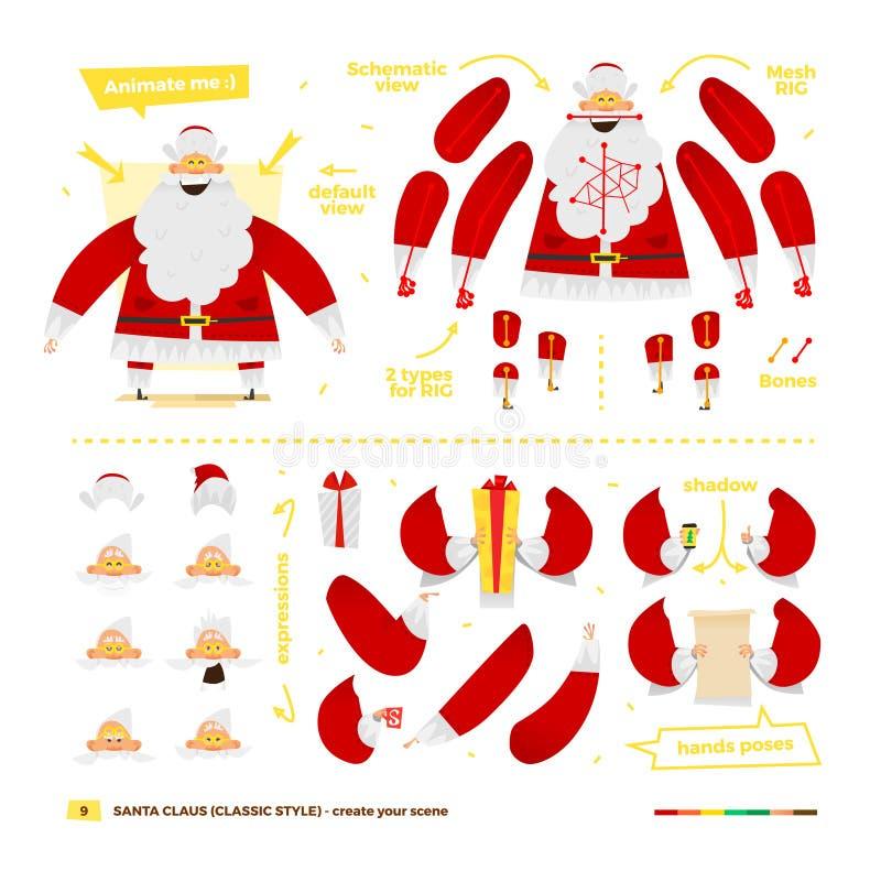 Santa Claus fijó para la animación ilustración del vector