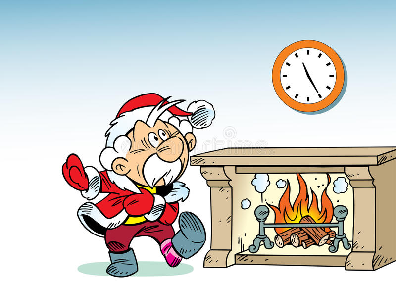 Santa Claus by the fireplace stock illustration