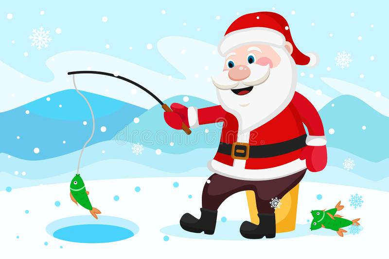 Santa Claus fishing rod catches fish in the hole. stock illustration