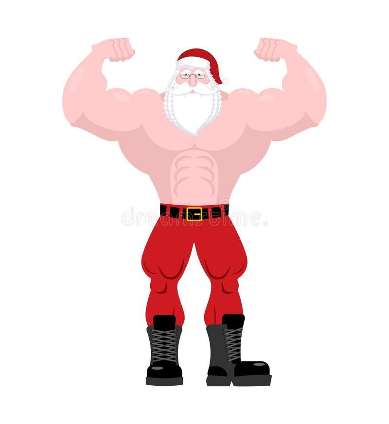 Santa Claus Fitness Krachtige oude mens met grote spieren sterk C stock illustratie