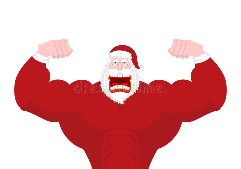 Santa Claus Fitness. Powerful old man with big muscles. strong C. Hristmas man. Sport New Year. Bodybuilder grandfather royalty free illustration