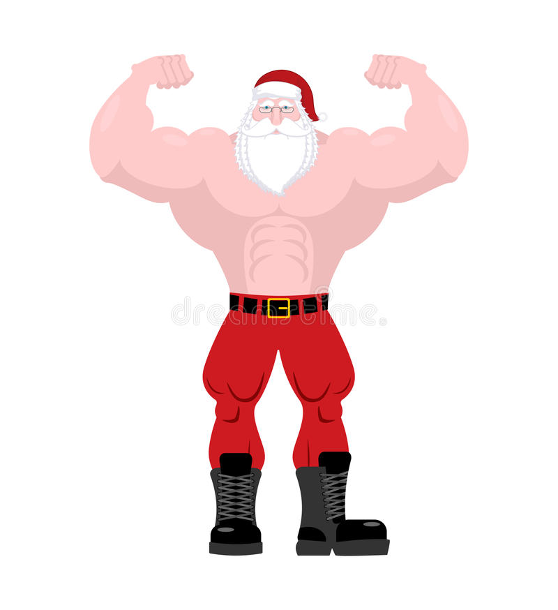 Santa Claus Fitness Starker alter Mann mit den großen Muskeln starkes C stock abbildung